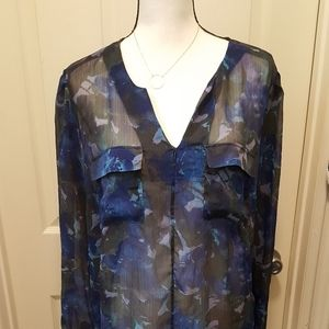 Mossimo Pretty Sheer Floral 2 Pocket Blouse